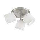 Спот на три лампы Reality Lights Tommy R80333901 Никель Матовый, Белая ткань