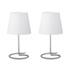 Набор из двух настольных ламп Reality Lights Twin R50272001 Никель Матовый, Белый Абажур