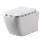 Подвесной безободковый унитаз с сидением дюропласт softclose slim Dusel Cubis DWHT10201030R белый