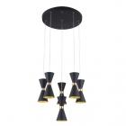 Люстра подвесная Maxlight Cornet P0331 конструктивизм, черный, металл, золотой