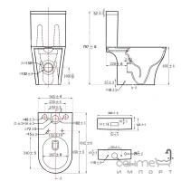 Безободковый унитаз-компакт с сидением дюропласт slim softclose Dusel Torino DTPT10213430R белый