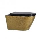 Подвесной безободковый унитаз с сидением Asignatura Exclusive 57802803 золото, рельеф под кожу/черное глянцевое сидение