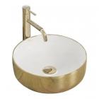 Раковина на столешницу Rea Sami Gold White REA-U1801 белая/золото