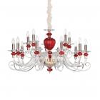 Люстра подвесная Ideal Lux Baronet 168289 классический, золото, прозрачный, красный, золотой, хрусталь, сталь