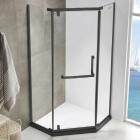 Пентагональная душевая кабина Asignatura Turia 39020402 профиль матовый черный/прозрачное стекло