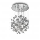 Люстра припотолочная Ideal Lux Bollicine 093024 модерн, белый, прозрачный, хром, стеклянные подвески