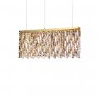 Люстра подвесная Ideal Lux Elisir 200064 арт-деко, прозрачный, золото, хрустальные подвески