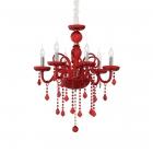 Люстра подвесная Ideal Lux Guidecca 027418 классика, красный, стекло, металл, хром
