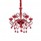 Люстра подвесная Ideal Lux Lilly 073453 неоклассика, красный, стекло, металл