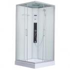 Квадратный гидромассажный бокс Dusel DSC-DU513-100 профиль сатин, прозрачное стекло, задние стенки белые