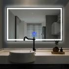 Смарт-зеркало с LED-подсветкой и часами Dusel DE-M0061S1 Silver 75х120 рамка серебро