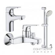 Душевой гарнитур с смесителями для раковины и ванны Grohe Bau Flow 121624S хром