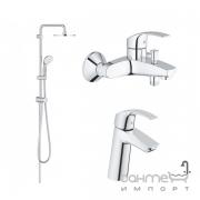 Душевая система наружного монтажа с смесителями для ванны и раковины Grohe Eurosmart 123389M хром