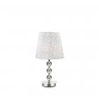 Настольная лампа Ideal Lux Le Roy 073422 классика, текстиль, хром, прозрачный, белый с вышивкой
