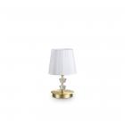 Настольная лампа Ideal Lux Pegaso 197753 модерн, белый, латунь, прозрачный, хрусталь, органза