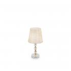Настольная лампа Ideal Lux Queen 077741 винтаж, золотистый, белый, прозрачный, текстиль, хрусталь