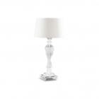 Настольная лампа Ideal Lux Voga 001180 винтаж, белый, прозрачный, текстиль, стекло