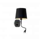Настенный светильник прикроватный с лампой для чтения Ideal Lux Nordik 158242 винтаж, черный, золотой, текстиль