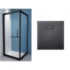 Квадратная душевая кабина Asignatura Tinto 49020702 90х90 + Душевой поддон Asignatura 49837002 черный матовый