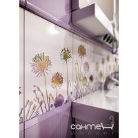 Плитка Paradyz Kwadro Ceramika Violino Bianco Listwa Kwiat 4,8 x 25 (кафель с цветами)