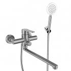 Смеситель для ванны с длинным изливом и душевым гарнитуром Venta VA7008B нержавеющая сталь