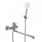 Смеситель для ванны с длинным изливом и душевым гарнитуром Venta VA7046A нержавеющая сталь