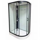Гидромассажный бокс Veronis BN-4-120 white (L)  профиль черный, стенки белые, двери прозрачные, левосторонний