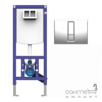 Подвесной унитаз с сидением Devit Project 3120147 + инсталляция Sanit Ineo Plus 450 c панелью смыва хром