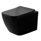 Подвесной безободковый унитаз с сидением slim Dusel Cubis Black Matt DWHT10201030RB матовый черный