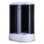 Ассиметричный душевой бокс Bravo Obra H120BL левый, профиль сатин, стекло прозрачное, задние стенки черные