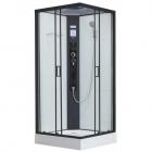 Квадратный гидромассажный бокс 100х100 Dusel DSC-DU513-90B профиль черный, прозрачное стекло, стенки белые