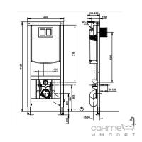 Подвесной унитаз с сидением Devit Project 3120147 + инсталляция Volle 141515 c панелью смыва хром