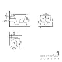 Подвесной безободковый унитаз с сидением slim softclose Devit Project 2.0 3220147 белый