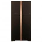 Холодильник с верхней морозильной камерой Hitachi R-W610PUC4GBK черный/золото